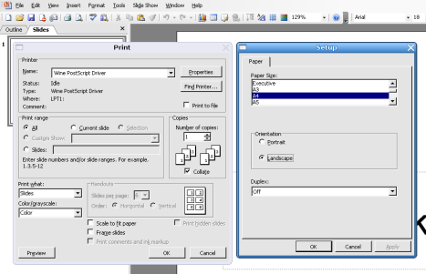 Printing to Postscript in MS Office 2003 on Linux using Wine